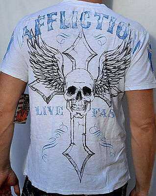 Affliction American Customs LIVE FAST CUSTOMS Men's Henley NEW - A4320 - White