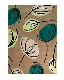 Contemporary teal floral design rug NEW
