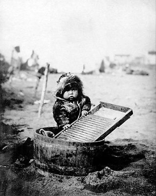 ESKIMO CHILD & WASHTUB ALASKA 1905 PORTRAIT 11x14 SILVER HALIDE PHOTO PRINT