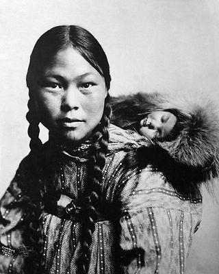 ESKIMO MOTHER & CHILD ALASKA 1906 PORTRAIT 11x14 SILVER HALIDE PHOTO PRINT