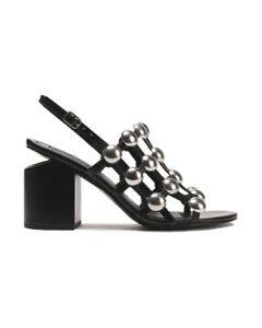 Alexander Wang Block Heel Studded Leather Sandals (Size 40 EU)