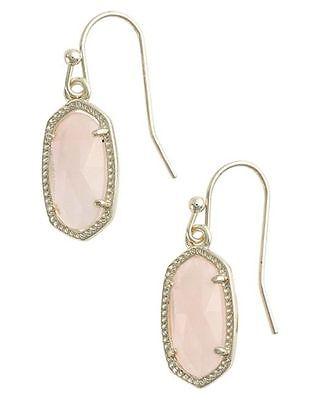 Kendra Scott Lee Drop Dangle Earrings in Light Pink & Gold Plated - New in Box