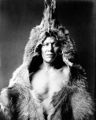 BEAR'S BELLY ARIKARA NATIVE AMERICAN INDIAN IN BEARSKIN 11x14 SILVER HALIDE PHOT