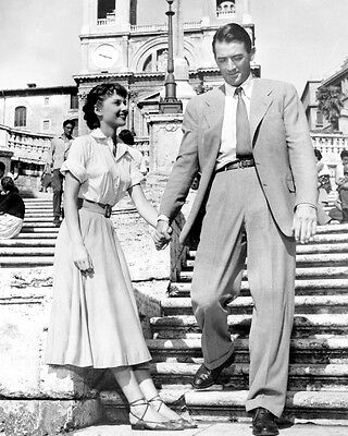 Roman Holiday Audrey Hepburn Gregory Peck Great BW Steps 10x8 Photo