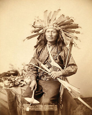 OGLALA SIOUX INDIAN LITTLE IN HEADDRESS 11x14 SILVER HALIDE PHOTO PRINT