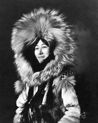 ESKIMO WOMAN PORTRAIT YUKON ALASKA 1915 11x14 SILVER HALIDE PHOTO PRINT