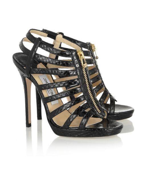 a0292fc24 ... Jimmy Choo Glenys Glossy Elaphe Black Leather Cage Sandal Heels EUR 40  UK 7 can post ...