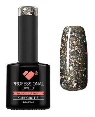 415 VB Line Dark Grey Glitter - gel nail polish - super sale!
