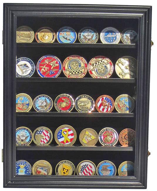 Lockable Challenge Coin Display Case Wall Shadow Box Cabi...
