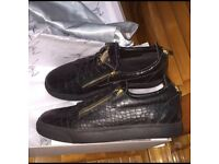 Giuseppe Zanotti Croc Printed Leather Low Top Kris Gold Zip Men's Designer Trainers