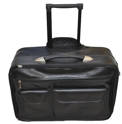 GENUINE LEATHER ROLLING LAPTOP BRIEFCASE TRAVEL BAG MOBILE OFFICE LUGGAGE BLACK Leather Rolling Briefcase
