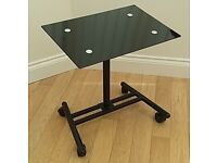 Glass Topped Laptop Table, Height Adjustable, On Castors, Excellent Condition
