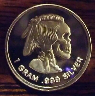 Best Junk Drawer lot: 1 (one) Gram .999 Fine Pure Solid Silver Bar  INDIAN SKULL