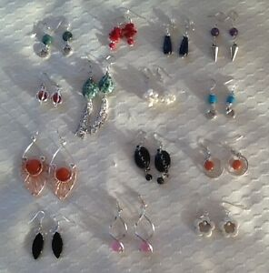 14 pairs handcrafted gemstone earrings
