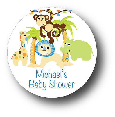 30 Jungle Animals Safari Baby Boy Shower Favor Stickers