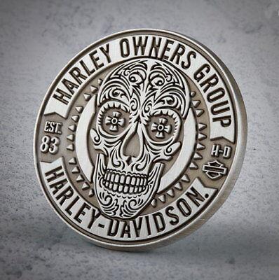 HARLEY DAVIDSON OWNERS GROUP SUGAR SKULL VEST PIN  * NEW * HOG JACKET BIKER PIN