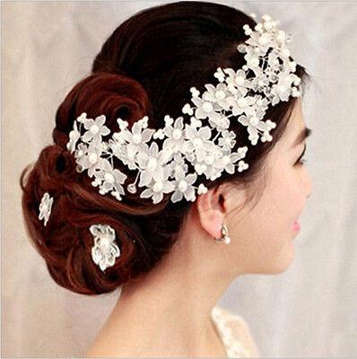 NEU Braut Damen Blumen Blüten Perlen Kopfschmuck Diadem Tiara Haarreif