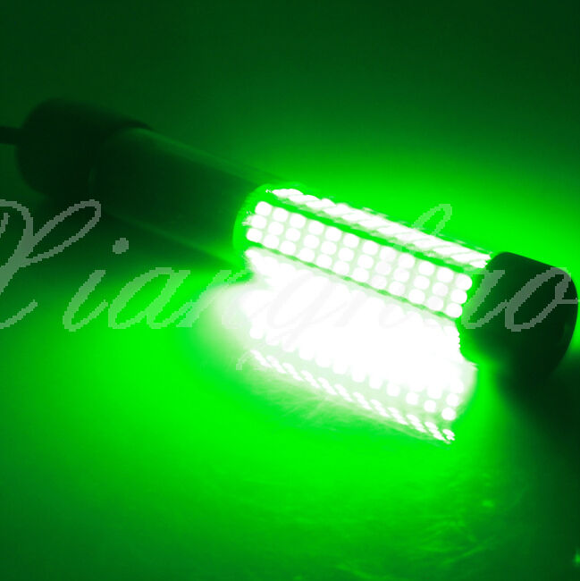 Led green submersible boat underwater night fishing fish for Submersible fishing light