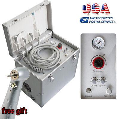 Usa Portable Dental Delivery Cart Dental Turbine Unit W Air Compressor Handpiece