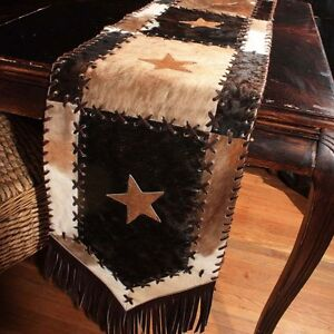 New-Cowhide-Table-Runner-Leather-Mad-Cow-Town-Hide-Animal-Skin-Patchwork-RR1