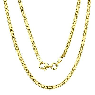 925 Sterling Silver Bizmark Chain Necklace 16, 18, 20 Italy 2 Mm Gold Plated
