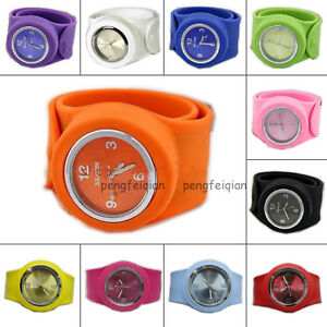 Silicone-Wristwatch-Unisex-Bracelet-Sports-All-Size-DIY-Colorful-Slap-Watch-Hot