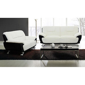 Alicia White/ Black Two-tone Modern Sofa and Loveseat Set