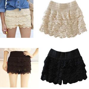 Fashion-Girl-Womens-Korean-Cute-Crochet-Tiered-Lace-Shorts-Skorts-Short-Pants-J