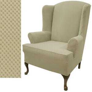 Stretch Pique Oatmeal Biscuit Wing Chair Cover 707
