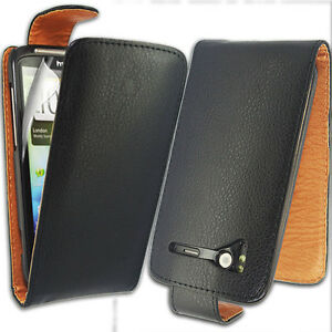 BLACK PU LEATHER FLIP CASE COVER FOR HTC SENSATION XE + SCREEN FILM NEW