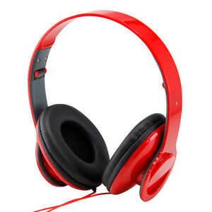 New Red High Quality Stero Headphone 3.5mm Over-Ear Earphone for iPod MP3 MP4 PC