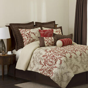 Beautiful Red Brown Leaf Beige Floral Modern 8 Pc