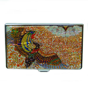 porte cartes de visite bo te acier nacre business carte de cr dit phoenix dore ebay. Black Bedroom Furniture Sets. Home Design Ideas