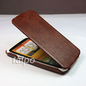 Genuine-Real-Leather-Flip-Skin-Case-Cover-For-HTC-ONE-X-Light-Brown