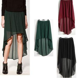 3-Color-Women-Girl-Sexy-Asymmetrical-Skirt-Chiffon-Skirt-Elastic-Waist-Skirt-O