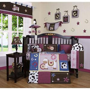pc baby girl nursery westren country horse cowgirl bedding set ebay