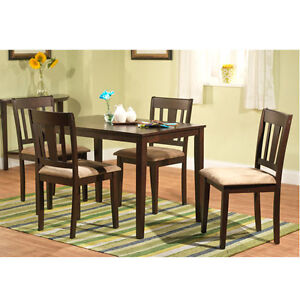 Modern 5 Piece Dining Room Table And Chairs Kitchen Dining Set Wood Espresso New