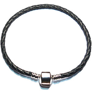 SILVER PLATED LEATHER CHARM BRACELETS FOR CHARM BEADS
