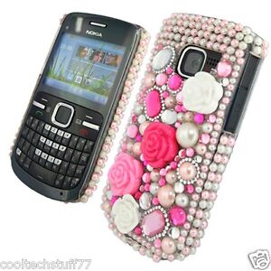 PRINCESS DIAMOND SERIES BLING FLOWER RHINESTONE HOT PINK MOBILE PHONE CASE COVER