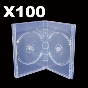 100 Double Clear CD / DVD Cover Case Premium Quality 14mm 100 grams / PCS