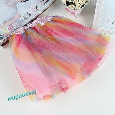 1 Pcs Pink Rainbow BALLET TUTU Lovely Girl Party Skirt Free Ship on Rummage
