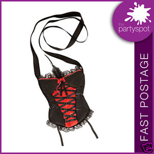 BURLESQUE CORSET Red & Black hand bag ADULT FANCY DRESS?