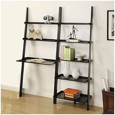 black 5 tier 2 piece leaning ladder shelf with laptop desk. Black Bedroom Furniture Sets. Home Design Ideas