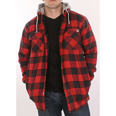 Farmall ih men 39 s red plaid hooded flannel jacket ebay for Men flannel shirt jacket with quilted lining