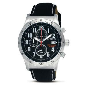 Invicta-1315-Military-Chronograph-Black-Face-Leather-Strap