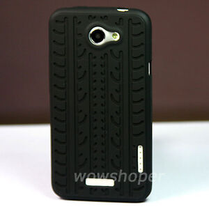 Tyre-Thread-Silicone-Soft-Skin-Case-Cover-For-HTC-ONE-X-Black