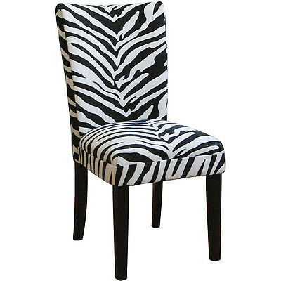 Zebra Print Parsons Chairs Set Of 2 Ebay