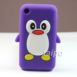 3D Penguin Soft Silicone Skin Case Cover FOR Apple Iphone 3G 3GS Purple