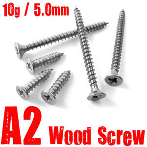 5.0mm, 10g, A2 STAINLESS STEEL WOOD SCREWS, POZI COUNTERSUNK, FULLY THREADED,
