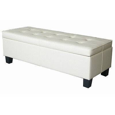 off white leather tufted storage bench ottoman ebay. Black Bedroom Furniture Sets. Home Design Ideas